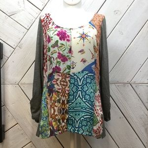 Anthropologie One September Mixed Print Blouse